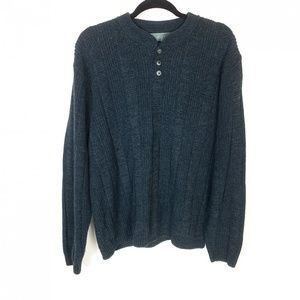 Oscar De La Renta Gray Cable Knit Henley Sweater L